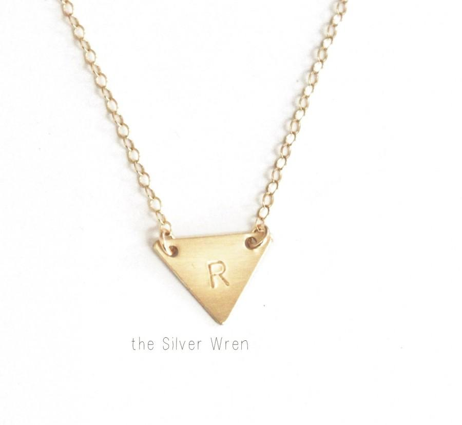 Hochzeit - Tiny Triangle Necklace, Initial Necklace, Dainty Necklace, Silver, Gold, Rose Gold Initial Jewelry, Personalized Necklace, Dainty Jewelry