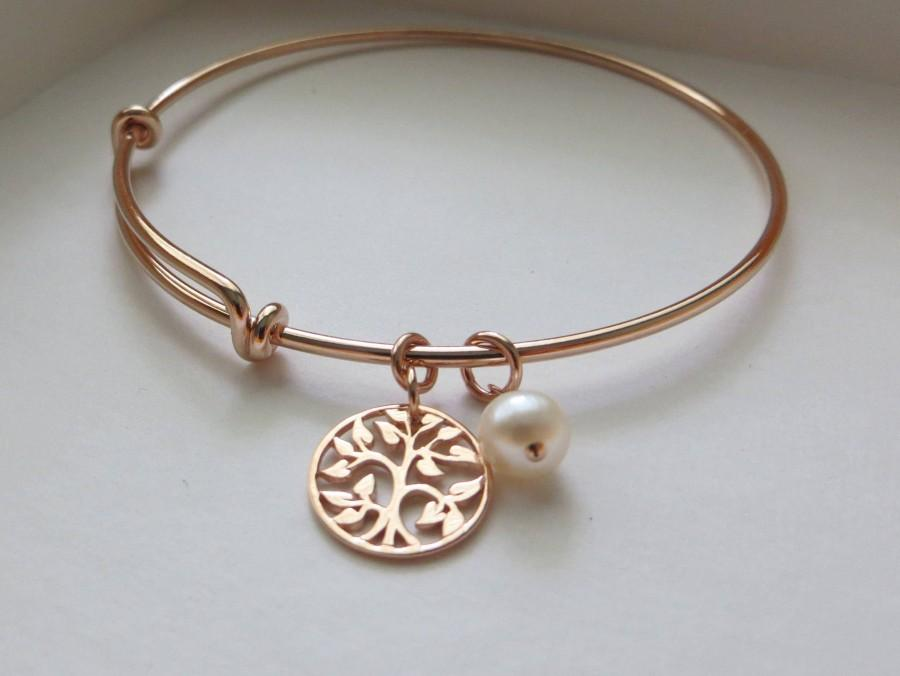 Hochzeit - mother of the bride gift from daughter, rose gold tree of life bangle bracelet, mother in law gift, pearl, wedding day jewelry for mom