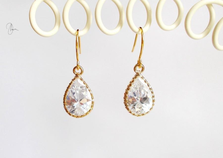 Hochzeit - Bridesmaid Earrings, Gold Crystal Earrings, Tiny Tear Drop Pear Dangle Earrings, CZ Wedding Earrings, Bridesmaid Gift, Small Bridal Earrings