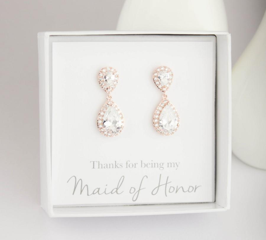 Hochzeit - Will you be my Bridesmaid, Bridesmaid Gift,  Rose Gold Drop Earrings, Rose Gold Dangle Earrings, Rose Gold earrings, Bridal