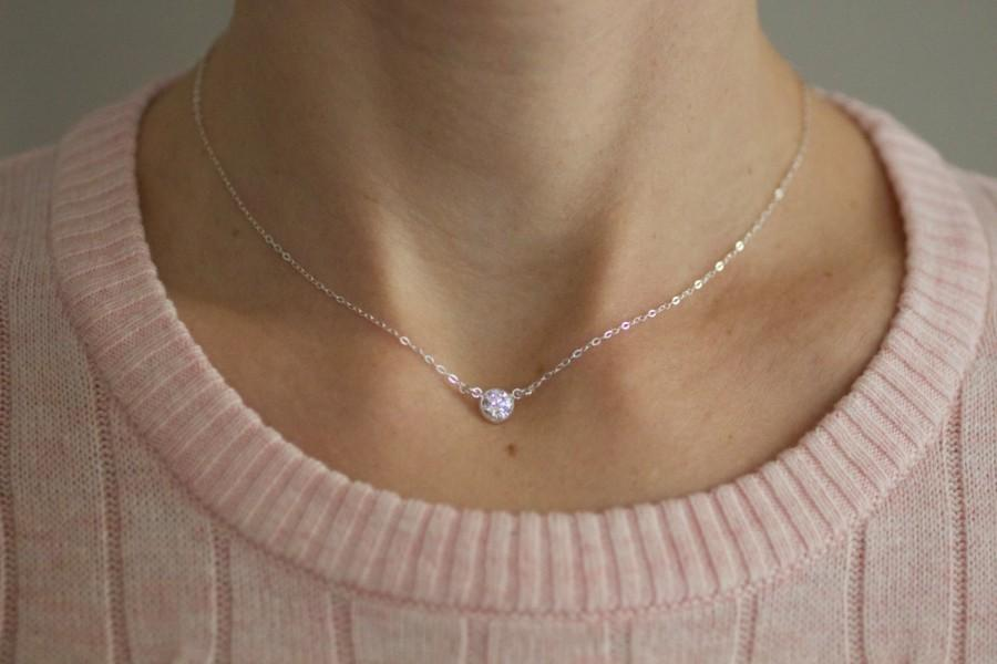 Hochzeit - Small Gold Necklace, Delicate Diamond Necklace, Dainty Necklace, Sterling Silver, Choker Necklace, Cubic Zirconia CZ, Bridesmaids Gift, N130