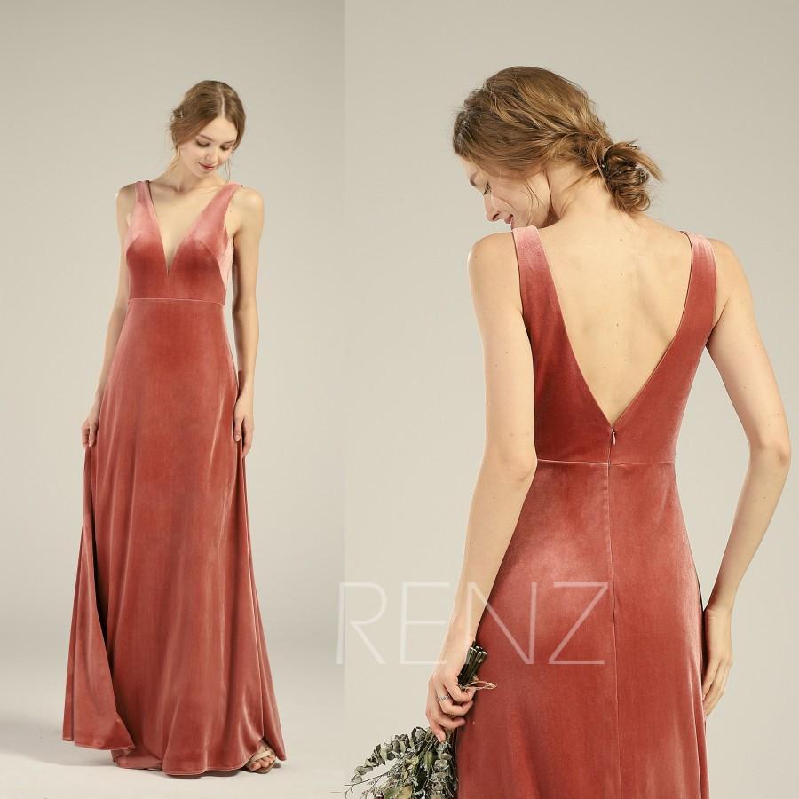 Hochzeit - Velvet Bridesmaid Dress English Rose Illusion Boat Neck Wedding Dress Sleeveless Prom Dress V Back Party Dress A-line Evening Dress(LV556)