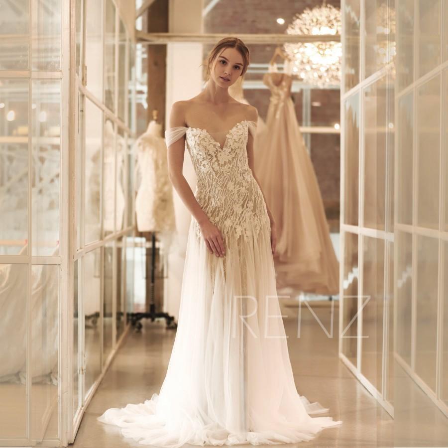 Hochzeit - Wedding Dress Boho Off White Off the Shoulder Bridal Dress  Mermaid Lace Wedding Dresses (HW519)