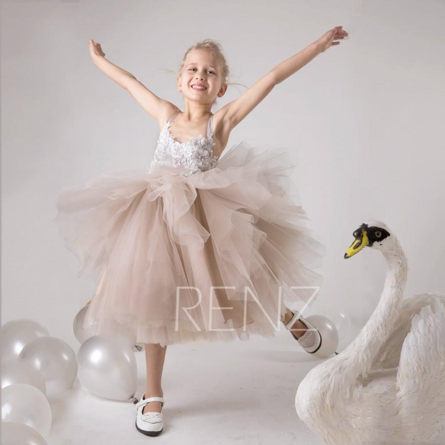 Hochzeit - Flower Girl Dress Lace Pale Khaki Boho Junior Bridesmaid Dress Tulle Baby Girl Dress (HK597)