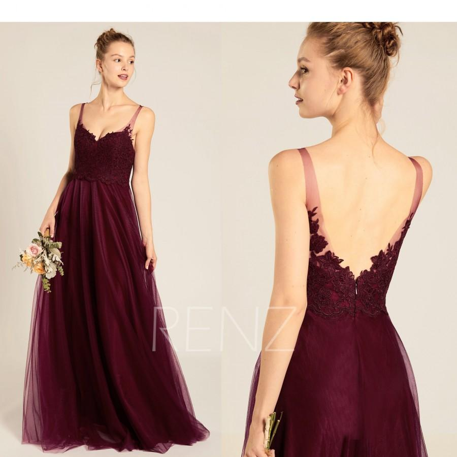 Hochzeit - Bridesmaid Dress Burgundy Tulle Prom Dress Long Sweetheart A Line Backless Wedding Dress (HS691)
