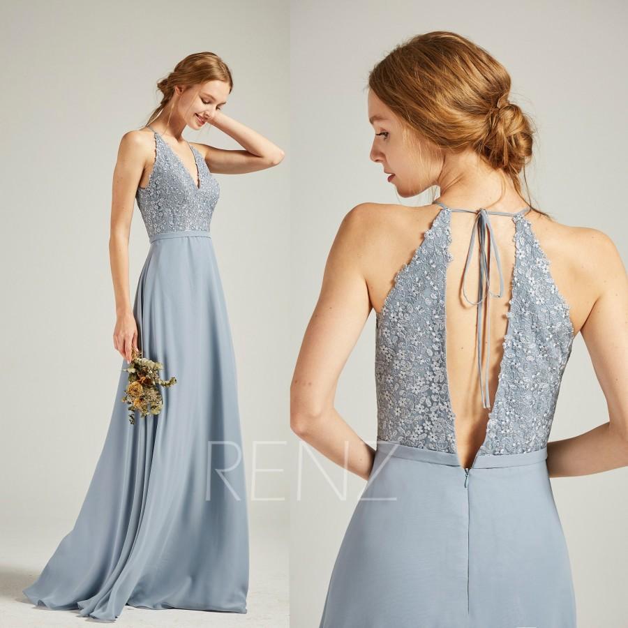 Hochzeit - Prom Dress Long Dusty Blue Chiffon Bridesmaid Dress Wedding Dress V Neck Halter Maxi Dress Lace Deep V Back Flowy Formal Dress (H738)