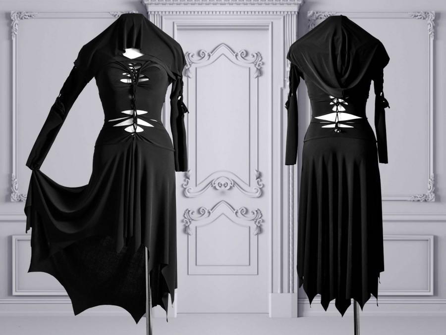 Hochzeit - slashed dress Morticia Addams black gothic