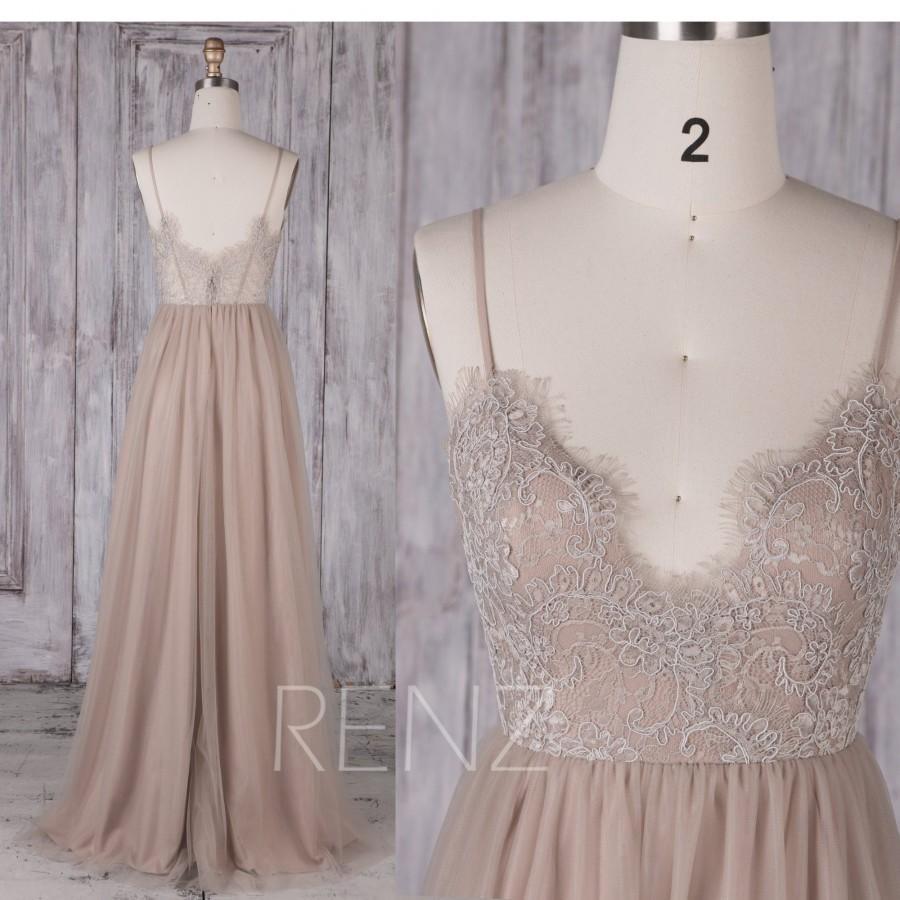 Hochzeit - Wedding Dress Lace Boho a line Bridesmaid Dress Pale Khaki Spaghetti Strap Tulle Dress (HS548B)