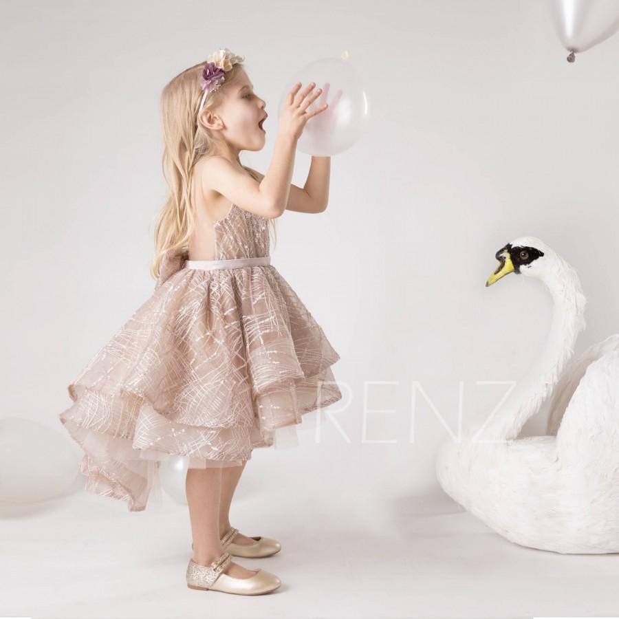 Hochzeit - Flower Girl Dress High Low Khaki Girls Sequin Dress Puffy Dress for Toddler Baby Hi-lo Dress (HK632)