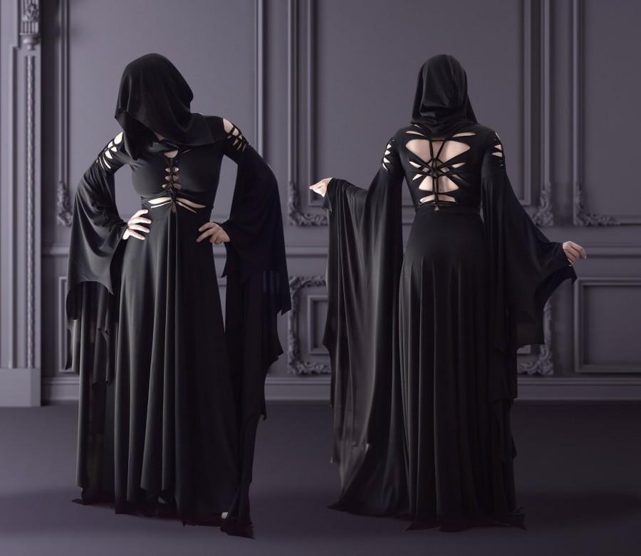 Hochzeit - slashed dress Morticia Addams black gothic hood hoodie
