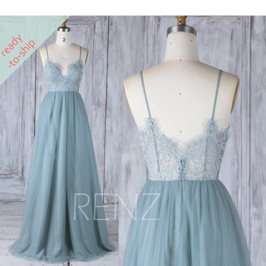 Hochzeit - Bridesmaid Dress Long Pale Blue Tulle Party Dress Sweetheart Maxi Dress with Spaghetti Straps READY-TO-SHIP - HS548