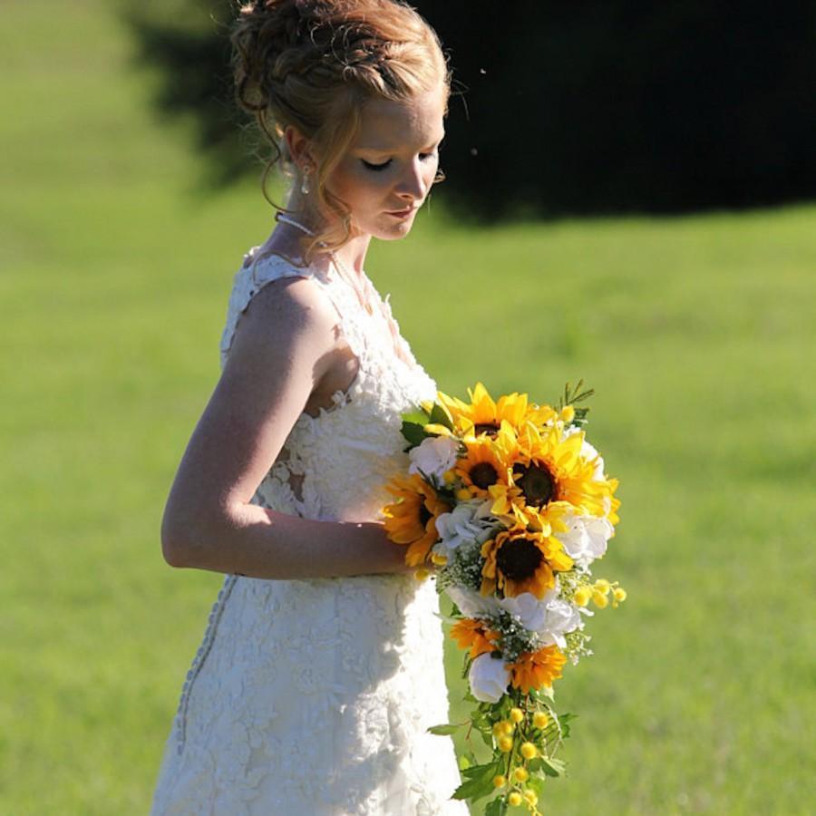 Mariage - Artificial Sunflower Bridal Bouquet, Sunflower Bridal Flowers, Sunflower Wedding Flowers