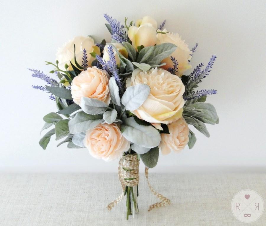 Hochzeit - Roses and lavender bouquet brides or bridesmaid flowers - boho wedding - artificial bouquet - silk bouquet - boho bouquet - wedding flowers