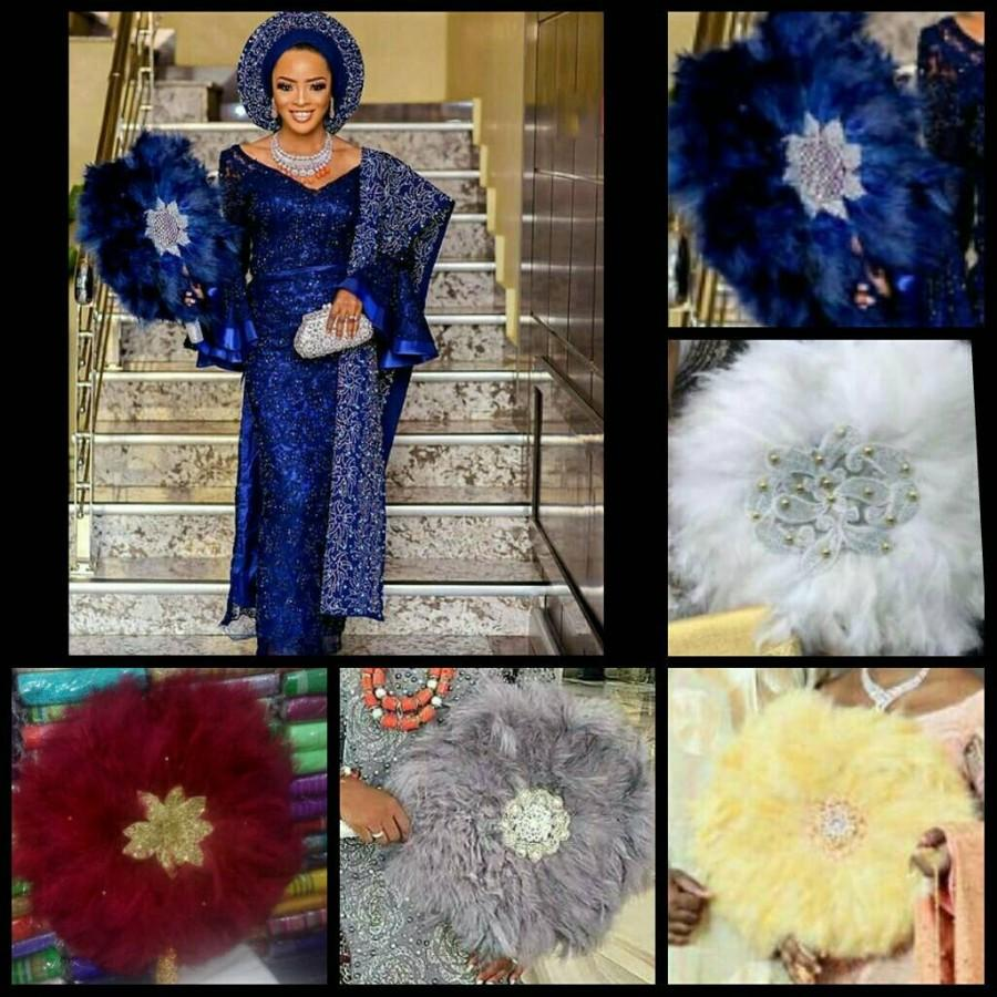 Hochzeit - Round Shaped Feather Traditional African Wedding Hand Fan African Bridal Accessory Nigerian Wedding Hand fan(Available in Different Colours)