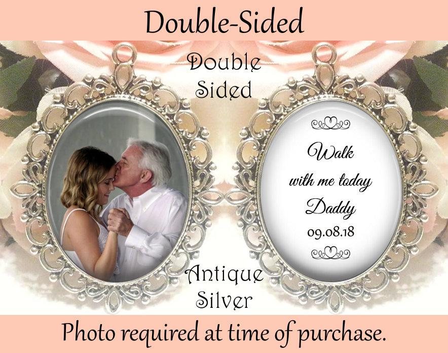 Hochzeit - SALE! Memorial Bouquet Charm - Double-Sided - Personalized with Photo - Walk with me today Daddy with Date