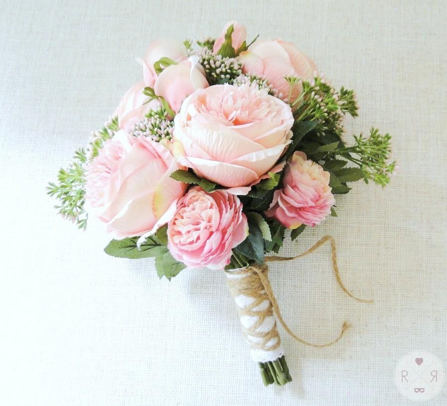 Hochzeit - Wedding bouquet pink roses - bridal bouquet - boho garden wedding - artificial bouquet - blush silk flowers - boho bouquet - wedding flowers