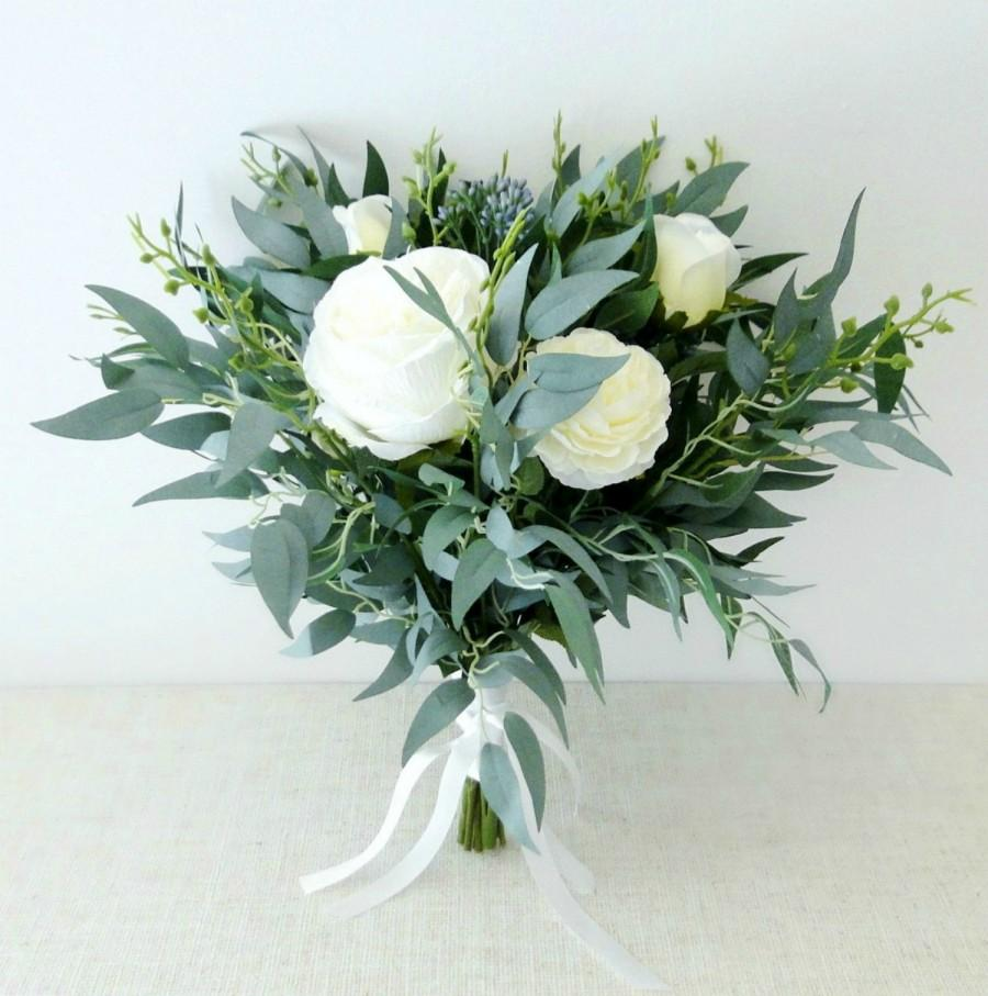 Hochzeit - Wedding bouquet white and cream roses - bridal bouquet - boho wedding - artificial bouquet - willow bouquet - boho bouquet - wedding flowers