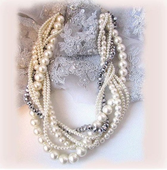 Hochzeit - bridesmaids jewelry set, Twisted braided pearl necklace, Wedding jewelry set, bridal jewelry set, bridal earrings, Ivory bridesmaid necklace