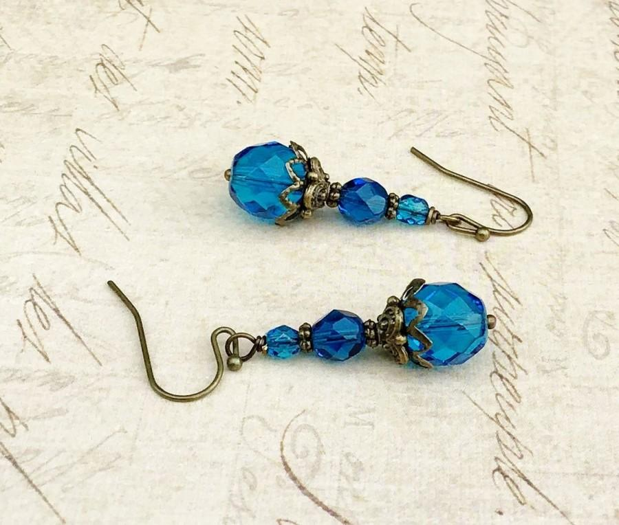 Hochzeit - Aqua Earrings, Blue Earrings, Sapphire Earrings, Victorian Earrings, Czech Glass Beads, Vintage Blue Earrings, Vintage Look Earrings, Gifts