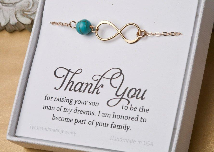 Hochzeit - Mother in law infinity bracelet,Thank you for raising the man of my dreams,gift for mother of groom,Infinity bracelet,mother's day gift