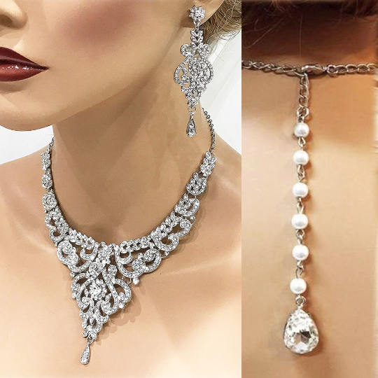 Wedding - Silver Rose gold Bridal jewelry set, Wedding necklace, Wedding jewelry set, crystal Bridal necklace earrings, bridesmaid jewelry set