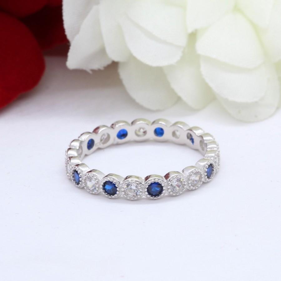 Wedding - 4mm Eternity Art Deco Band Deep Blue Saphire Round Diamond CZ Solid 925 Sterling Silver Wedding Band, Engagement, Anniversary Full Eternity