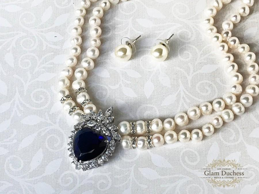 Mariage - Bridal pearl jewelry set, Blue Sapphire cubic zircon wedding necklace earrings, Pearl necklace earrings set, Princess Diana inspired choker