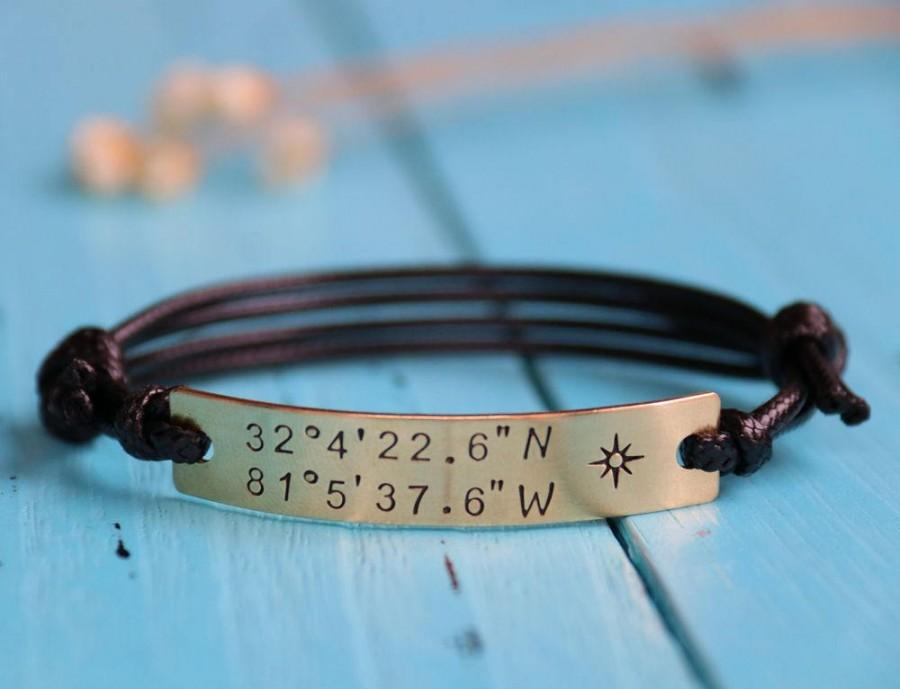Свадьба - Custom Coordinates anniversary bracelet, personalized coordinates bracelet, customized coordinates bracelet, latitude longitude bracelet