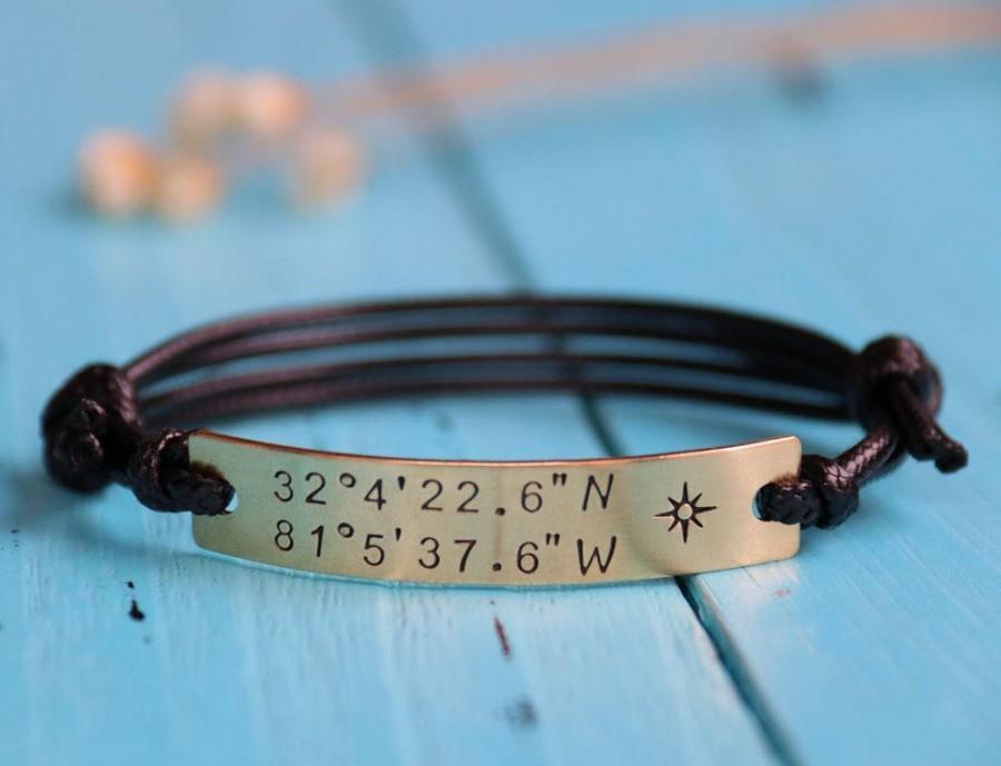 Mariage - Custom Coordinates anniversary bracelet, personalized coordinates bracelet, customized coordinates bracelet, latitude longitude bracelet