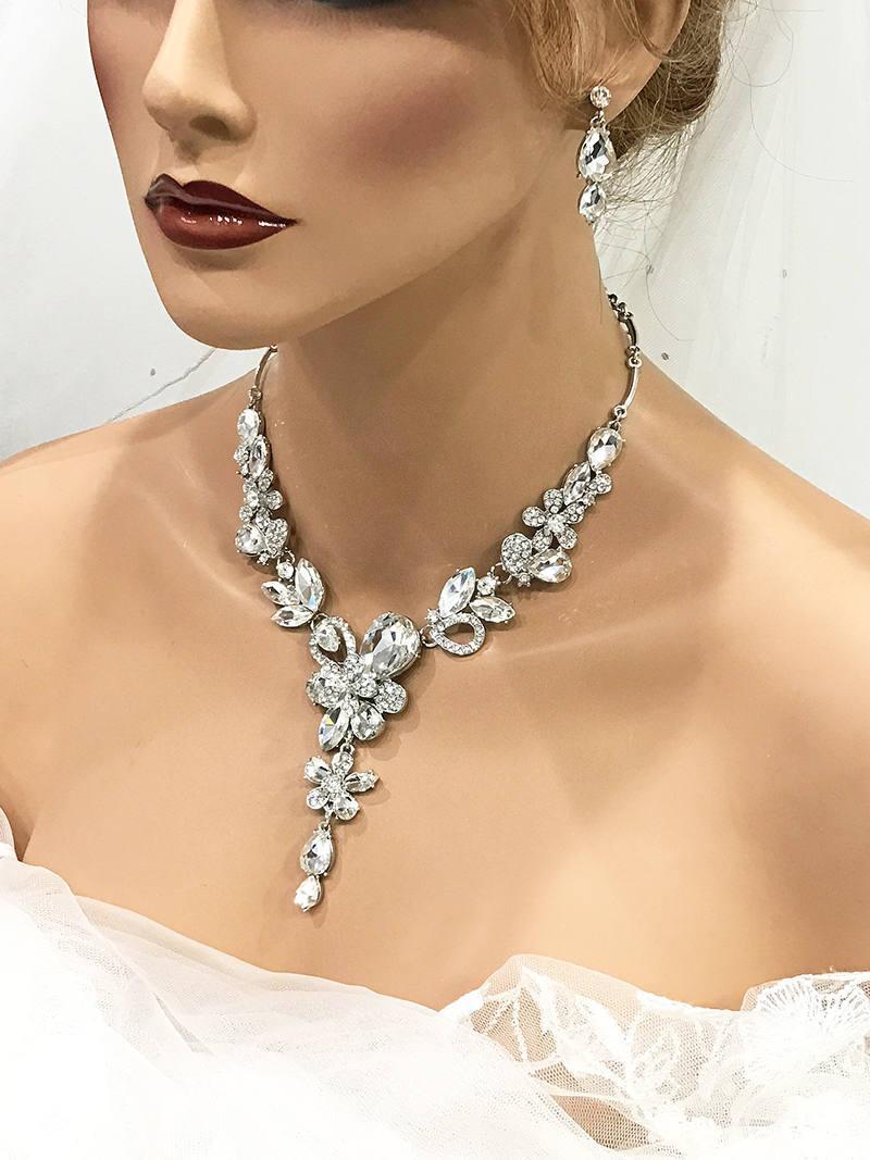 زفاف - Silver Austrian Crystal Statement Necklace Set, Back Drop Necklace, Bridal Necklace and Earring Set, Bridesmaid Statement Necklace