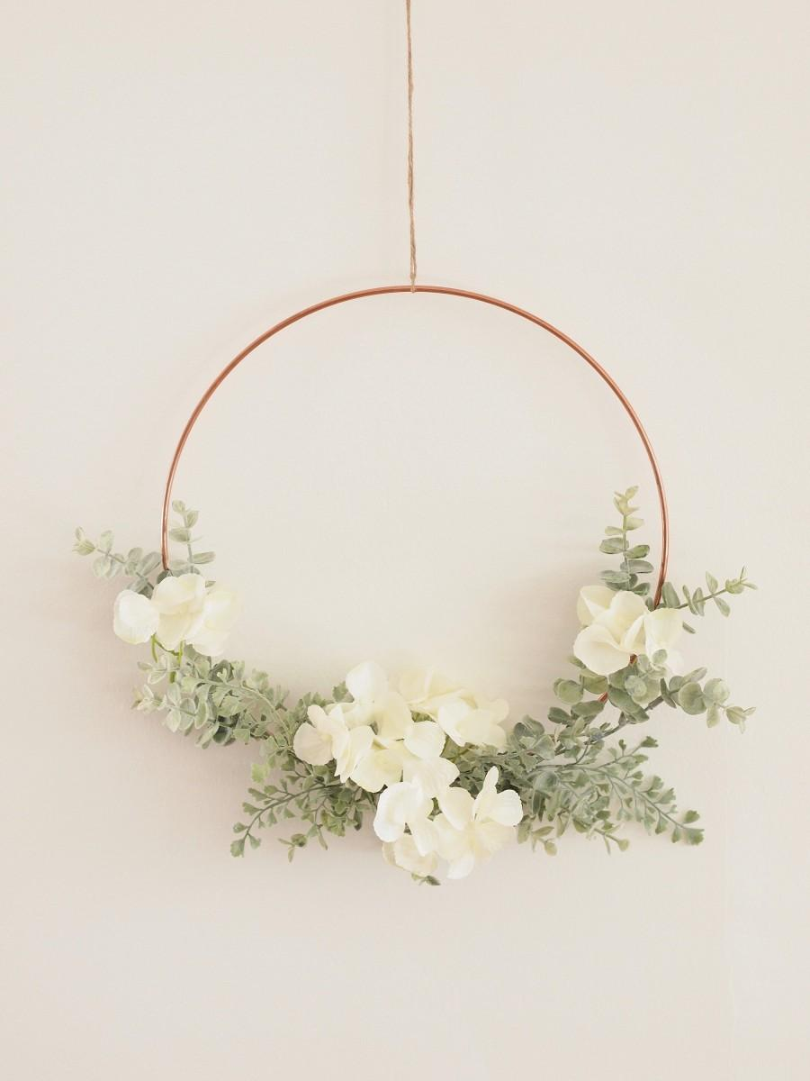 Wedding - Hydrangea Eucalyptus and Fern Hoop Wreath
