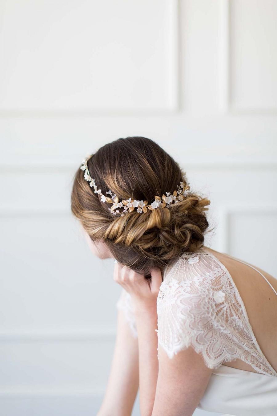 زفاف - Gold Bridal Crown, Bridal Halo, Wedding Hair Accessory, Bridal Circlet, Gold Wedding Hair Piece, Wedding Headpiece - GUIRLANDE de FLEUR