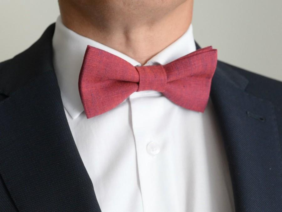 Свадьба - Fuchsia Pink Linen Bow Tie- Pre tied Adjustable Men's Bowtie - Magenta, Dark Red, Purplish Red, Bold, Raspberry Bowtie