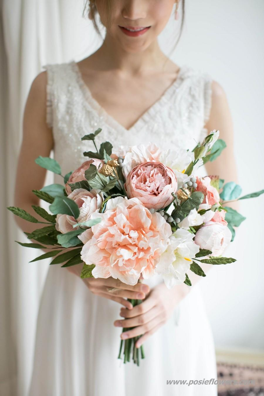 Wedding - Hand Tied Peach Paper Bridal Bouquet -  Boho Paper Bouquet, Boho Peach Bouquet, Coral Paper Bouquet, Diameter 9 inches