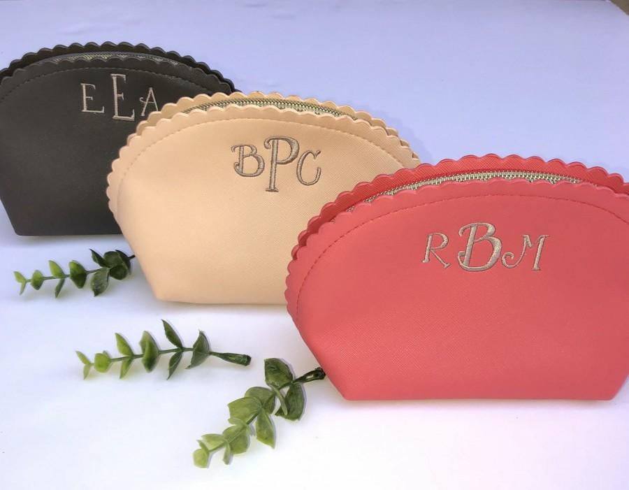 Wedding - Monogram Bridesmaid cosmetic make up bag, monogrammed bridal cosmetic bag, bridesmaid gifts, personalized cosmetic toiletry bags