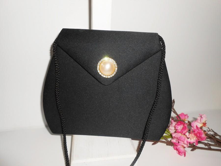 Свадьба - Vintage Black Evening Bag, Black Handbag Pearl Rhinestone Trim EB-0450