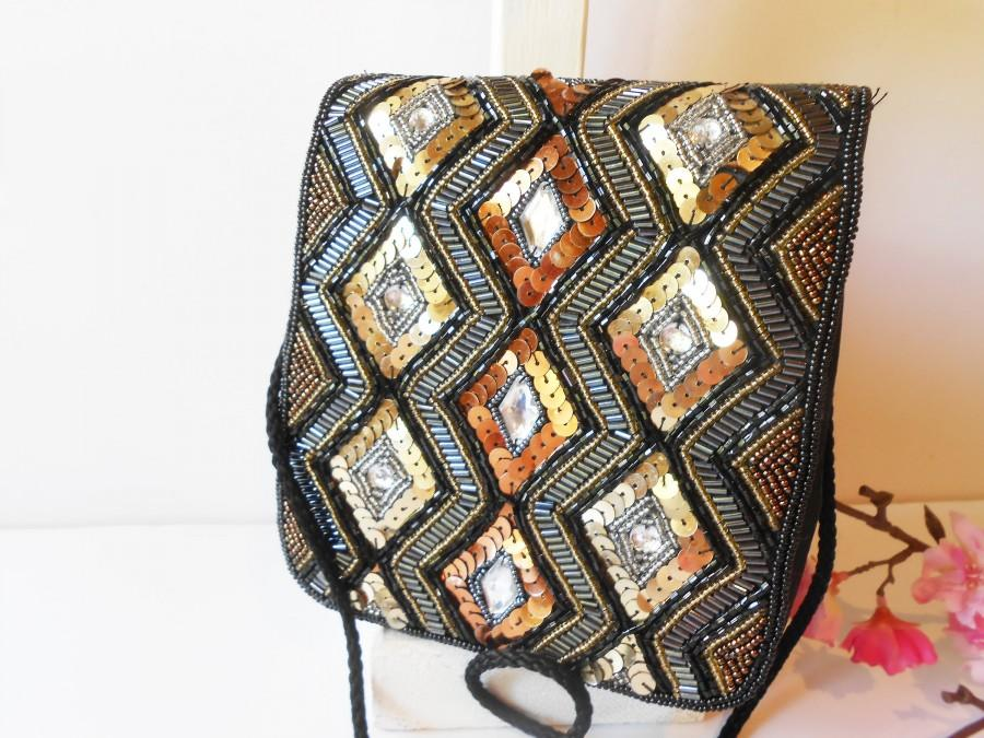 Wedding - Vintage Black Beaded Evening Bag, Black Handbag in Gold Silver Copper, Glamorous Bag  EB-0727
