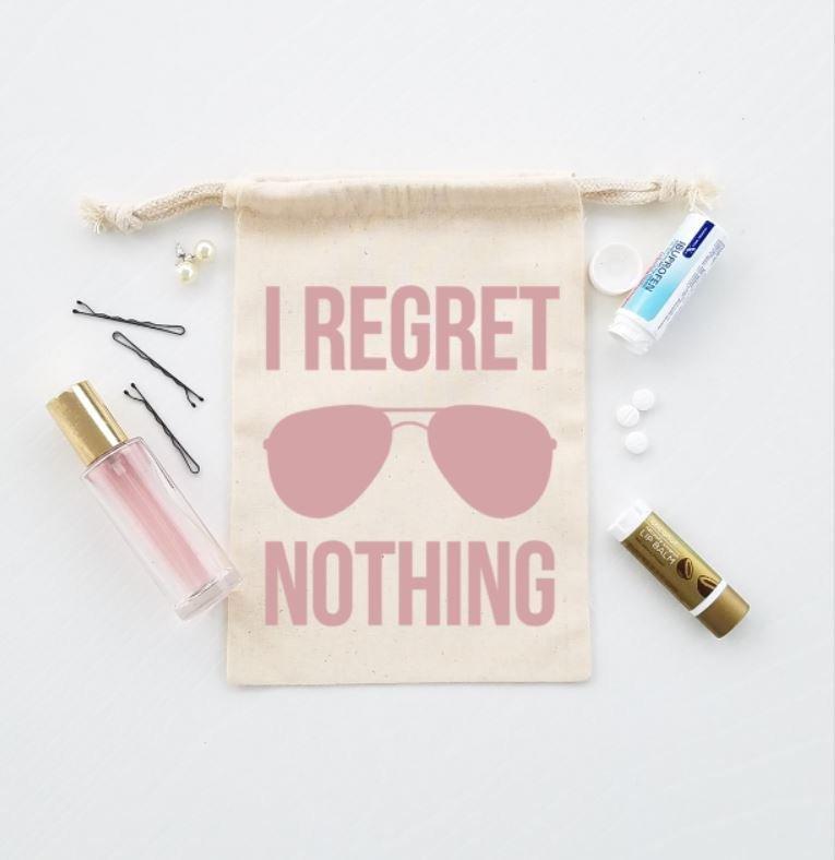 Wedding - I regret nothing hangover kit, rose gold hangover kit, party favor bag, hangover bag, bachelorette party hangover relief bag, wedding favor