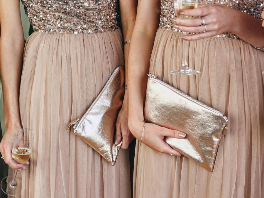 Wedding - Bridesmaids Gift Set, Leather Bridesmaids Bags, Bridal Party Gift, Bridesmaid Clutch, Leather Clutch Bag, Wedding Gift, Bridal Clutch