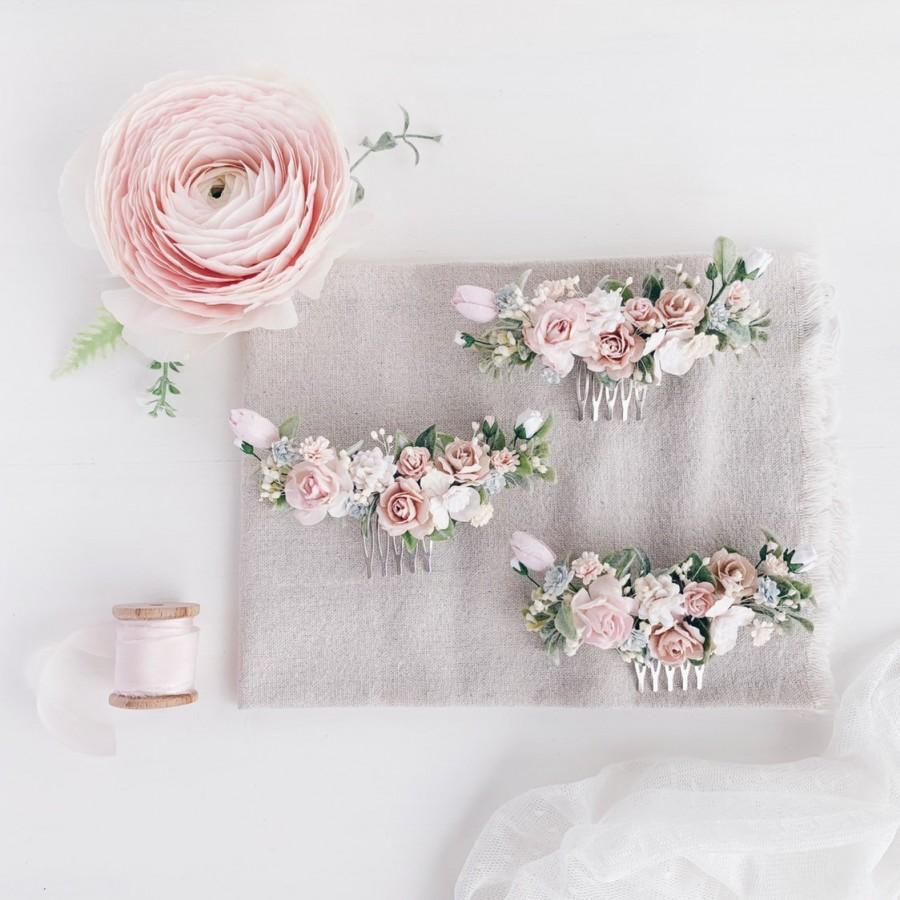 Hochzeit - Flower hair comb, Blush Hair comb, flower hair clip, flower hair piece, bridal hair piece, wedding headpiece