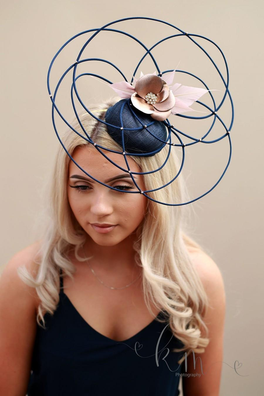 Wedding - blush and navy fascinator