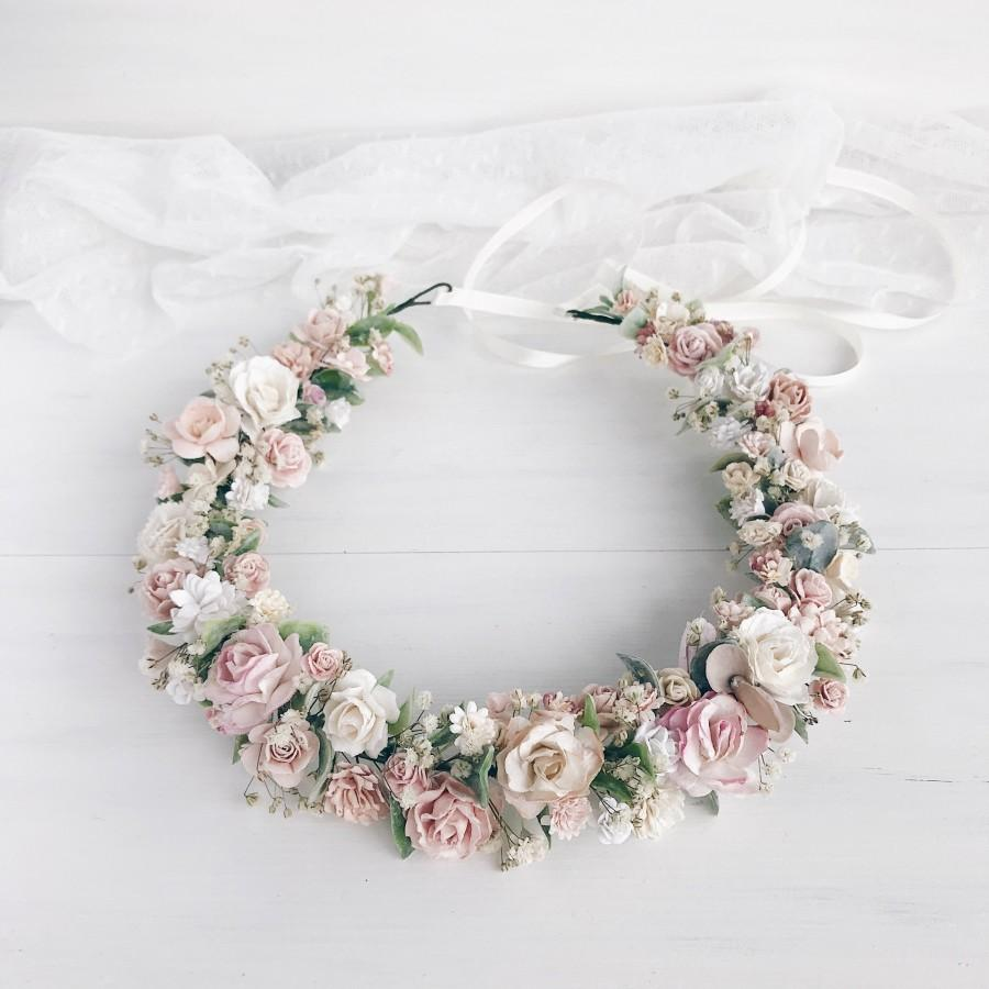 Wedding - Flower crown, Blush flower crown, Flower crown wedding
