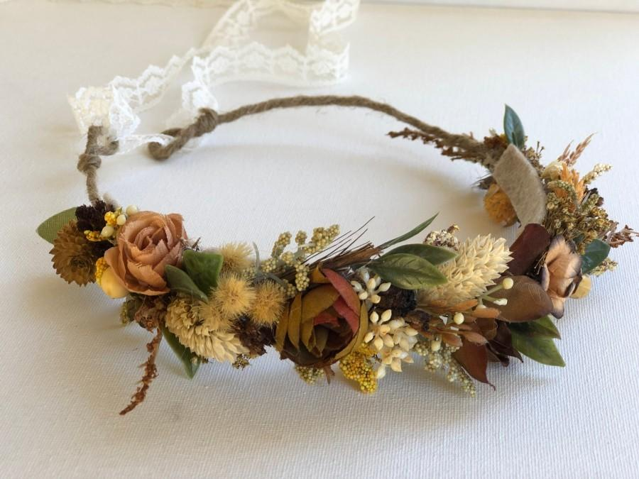 Hochzeit - Natural Grains  flower crown- Dried Flower Crown- Preserved Flower Crown- Fall Wedding- Flower Crown