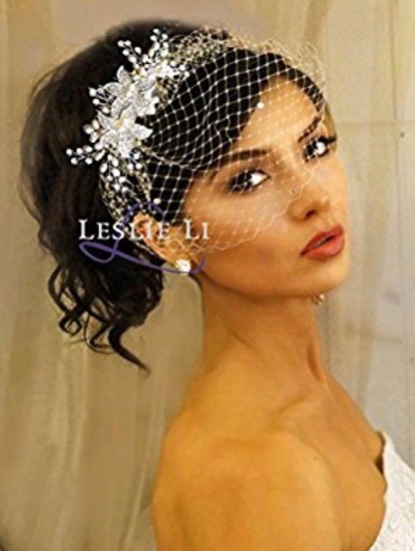 Hochzeit - Leslie Li Pearl Crystal Sprays and Birdcage Veil Bridal One Size Ivory 27-515
