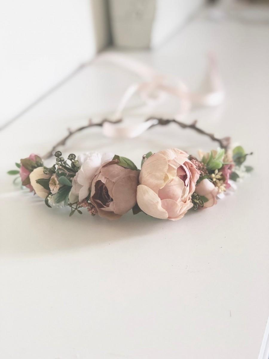 Wedding - Blush Flower Crown- Floral Crown- Baby Flower Crown- Bridal Flower Crown- Avry Couture- Flower Crowns- Flower Girl Flower Crown- Newborn