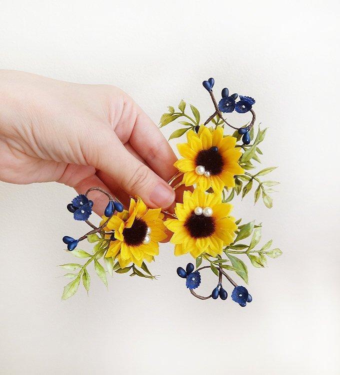 Hochzeit - 3 sunflower hair pin, sunflower hair piece, royal blue hair flowers, sunflower and blue bridal hair pins, sunflower hair clip, yellow flower