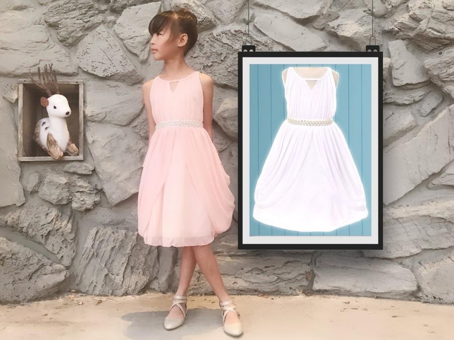 Свадьба - Little to Big Girl Rhinestone Pearl Chiffon Draped Dress, Blush Pink, White, Baptism, Christening, Wedding Flower Girl, Easter, Size 4-14