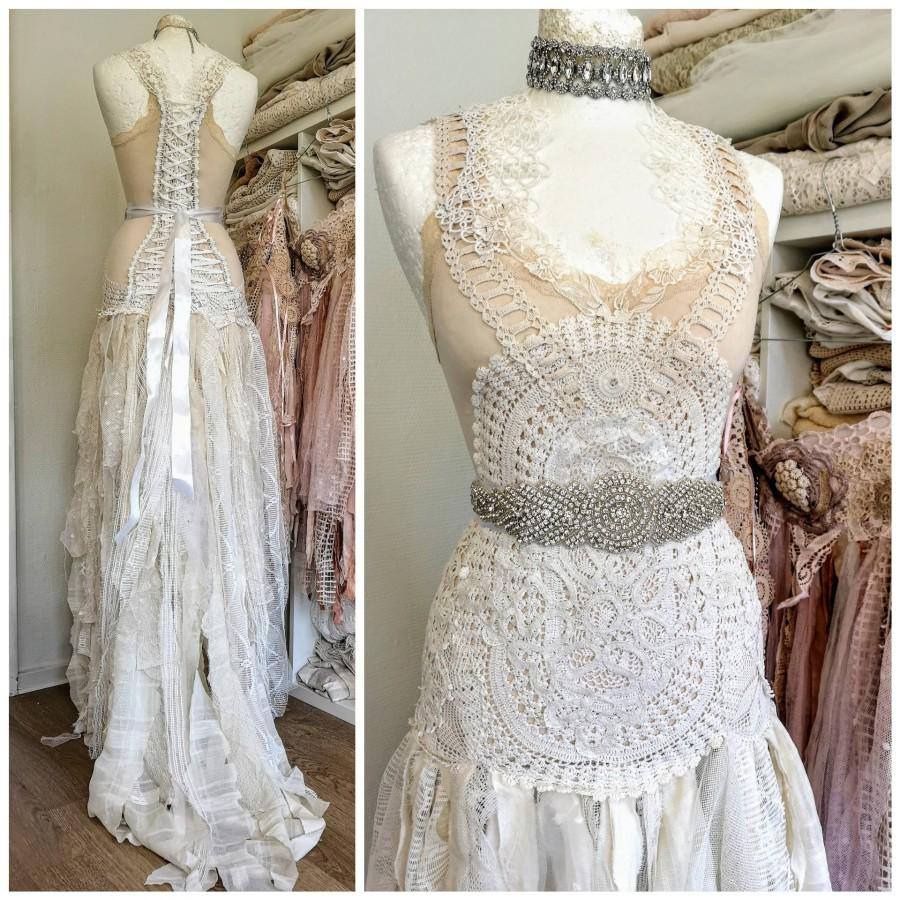 زفاف - Boho Wedding dress delicate ,bridal gown romantic, wedding dress antique lace,beach wedding dress