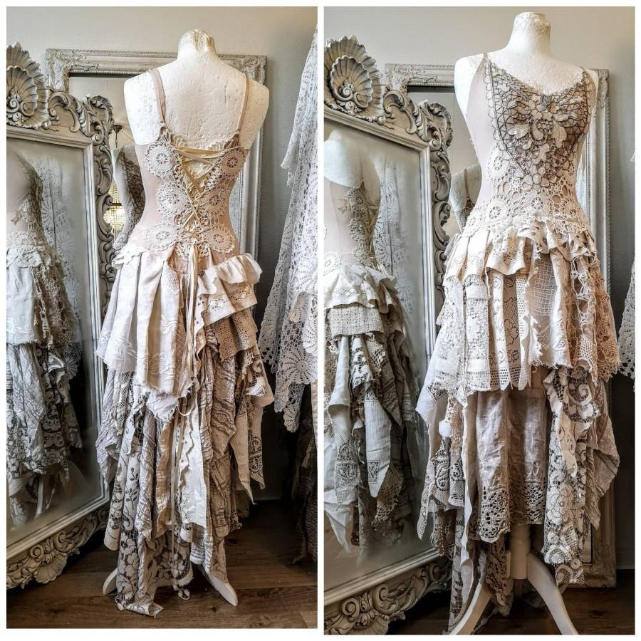 زفاف - Gypsy wedding dress antique lace,bridal gown for faries, Bohemian lace wonder