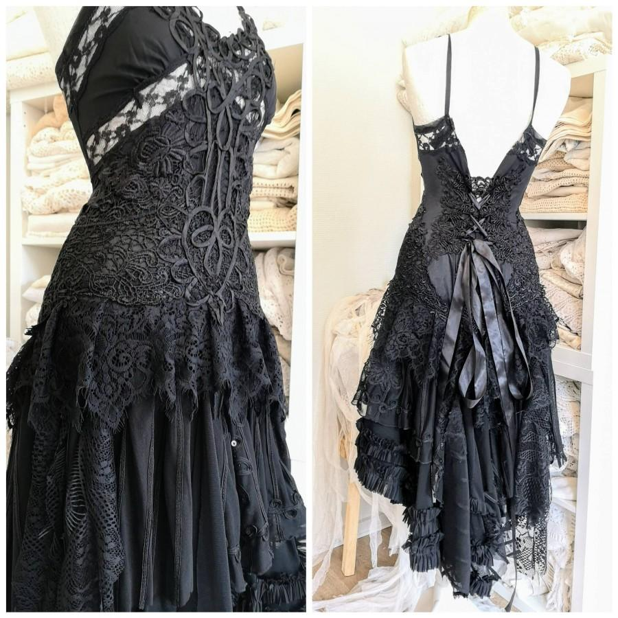 زفاف - Black wedding dress,Gothic bridal gown,vampire wedding dress,witches dress,sexy black dress, Burlesque ,corset